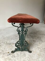 Antique Victorian Iron Fireplace Bench With Cranberry Red Upholstery