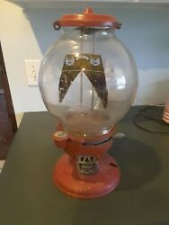 Vintage Peanut Dispenser Red Penny Operated Circa 1930's
