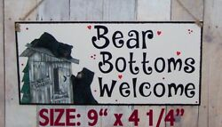 Bear Bottoms Welcome Sign Outhouse Cute Cubs Bathroom Cabin Lodge Rustic Decor.