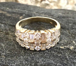 Premium 1.8 Carat Tw Mixed Baguette And Round Natural Diamond Band Size 8.75