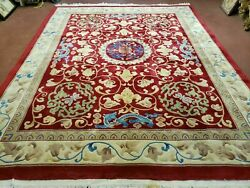8' X 10' Hand Made Art Deco Chinese Rug Carving Carpet 90 Line Dragon Flower Red