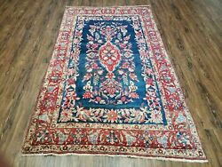 4' X 7' Vintage Hand Made Turkish Wool Rug Flowers Birds Tree Of Life Blue Red
