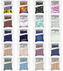 Ambesonne Floral Bunch Bedding Set Duvet Cover Sham Fitted Sheet In 3 Sizes