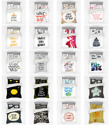 Ambesonne Lettering Bedding Set Duvet Cover Sham Fitted Sheet In 3 Sizes