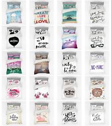 Ambesonne Calligraphic Art Bedding Set Duvet Cover Sham Fitted Sheet In 3 Sizes