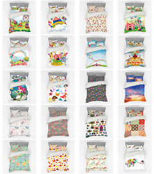 Ambesonne Colorful Scene Bedding Set Duvet Cover Sham Fitted Sheet In 3 Sizes