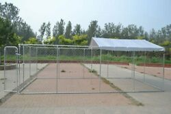 Large Outdoor Chain Link Dog Kennel Enclosure Exercise Pen Run With Tarp Cover
