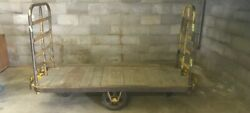 Wood Iron Authentic Antique Vintage Factory Industrial Cart Wagon