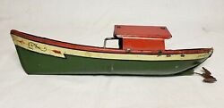 Extremely Rare Ruth 1910 Vintage J. Chein And Co Wind Up Tin Toy Boat