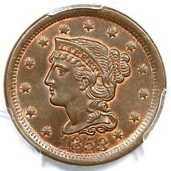 1853 N-6 Pcgs Ms 65 Braided Hair Large Cent Coin 1c