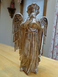 Vintage Wood Carved Hark The Herald Angel With Trumpet Statue/figurine