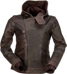 Z1r Women's Indiana Leather Motorcycle Jacket Brown