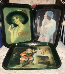 Lot Of 3 Vintage 1970's Coca-cola Advertising Collectable Metal Serving Trays