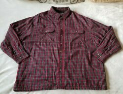 David Taylor Plaid Flannel Shirt Jacket Size Xl Ribbed Inner Lining Long Sleeve