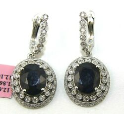 Oval Blue Sapphire And Diamond Halo Drop Lady's Earrings 14k White Gold 13.96ct