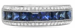 1.63ct Diamond And Aaa Sapphire 14kt White Gold Round And Princess Anniversary Ring