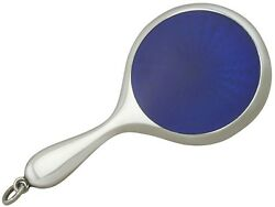 Antique Edwardian Sterling Silver And Enamel Miniature Hand Mirror 1901