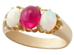Antique Victorian 0.75 Ct Ruby And 0.85 Ct Opal 14k Yellow Gold Three-stone Ring