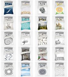 Ambesonne White Layout Bedding Set Duvet Cover Sham Fitted Sheet In 3 Sizes
