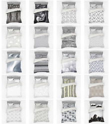 Ambesonne Grey Bedding Set Duvet Cover Sham Fitted Sheet In 3 Sizes