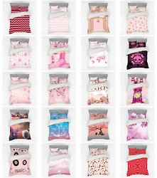 Ambesonne Pink Bedding Set Duvet Cover Sham Fitted Sheet In 3 Sizes