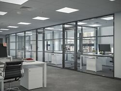 Cgp Office Partition System, Glass Aluminum Wall 16' X 9' W/door, Black Color