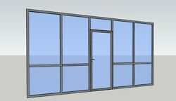 Cgp Office Partition System, Glass Aluminum Wall 14' X 9' W/ Door Clear Anodized