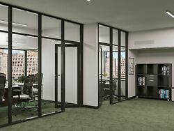 Cgp Office Partition System, Glass Aluminum Wall 14' X 9' W/door, Black Color