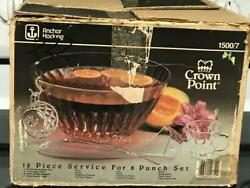 Rare And Vintage Complete 18pc Punch Bowl Set Crown Point By Anchor Hocking Mint