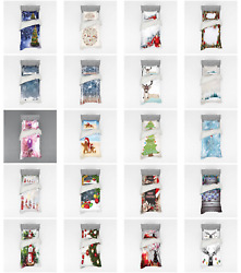 Ambesonne Christmas Theme Bedding Set Duvet Cover Sham Fitted Sheet In 3 Sizes