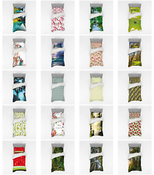 Ambesonne Nature Scenery Bedding Set Duvet Cover Sham Fitted Sheet In 3 Sizes