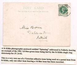 1902 Postcard Spinning With St Kilda C.d.s. On Queen Victoria Andfrac12d - Very Rare