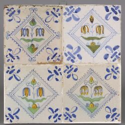 Nice Set Of 4 Dutch Delft Polychrom Tiles, Snake's Head Flowers, Mid 17th Ct.