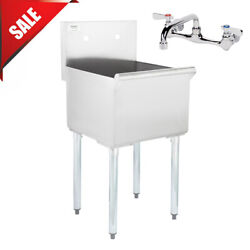 18 X 18' X 13 With Faucet Stainless Steel Commercial Utility Sink Bowl Mop Prep