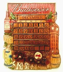Vintage Budweiser King Of Beers Perpetual Calendar Usa Hand-cast Hand-painted