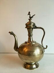 40 Cm Antique Pot India Massive Brass Water Jug 1.965 Grams With Fine Pattern