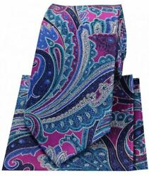 Posh And Dandy Mens Large Edwardian Paisley Silk Tie And Hanky Set - Pink/blue