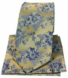 Posh And Dandy Mens Flowers Luxury Silk Tie And Hanky Set - Gold/blue