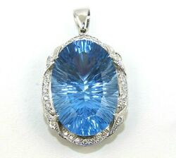 Oval Swiss Blue Topaz And Diamond Halo Solitaire Pendant 14k White Gold 49.03ct
