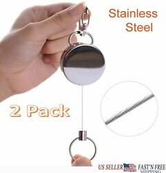 2-Stainless Steel Key Ring Retractable Metal ID Card Badge Recoil Key Clip Pull