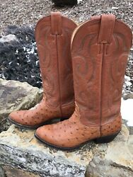 VINTAGE NOCONA EXOTIC OSTRICH LEATHER COWBOY WESTERN BOOTS MADE USA 7 D EX COND