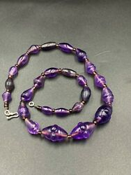 A Very Old Romans Period Amethyst Conch Shell Figure Carved Beads Necklace
