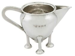 Antique Edwardian Arts And Crafts Style Sterling Silver Cream Jug 1905