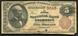 1882 5 Bb The First National Bank Of Shamokin, Pa National Currency Ch. 3045
