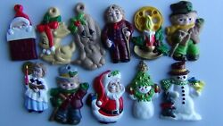 11 Vintage Hand painted Christmas Ceramic Ornaments FREE PRIORITY SHIPPING