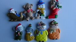 8 Vintage Hand painted Christmas Ceramic Ornaments FREE FAST SHIPPING