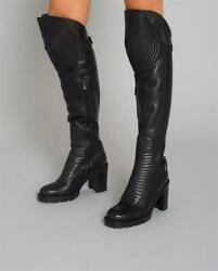 Christian Louboutin Mad Maxime 70 Leather Motorcycle Over The Knee Boots 2495