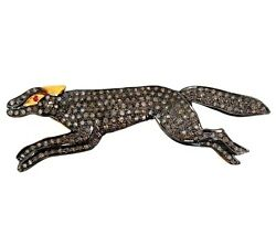 Diamond Pave Sterling Silver Fox Brooch Pendant 14k Gold Antique Inspire Jewelry