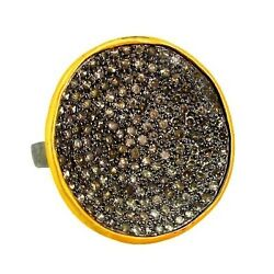 14k Gold Natural Diamond Pave 925 Silver Ring Antique Vintage Look Jewelry Oy