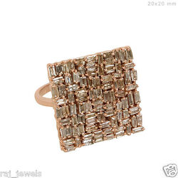 2.53ct Baguette Diamond Pave Ring Solid 14k Rose Gold Antique Style Jewelry Us7